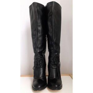 Celine black leather boots size Euro 37